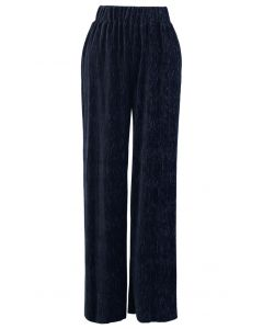 Embossed Velvet Wide-Leg Pants in Navy