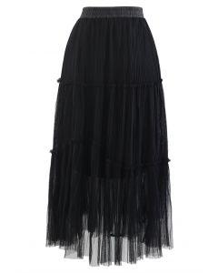Soft Mesh Ruffle Detail Pleated Skirt in Black