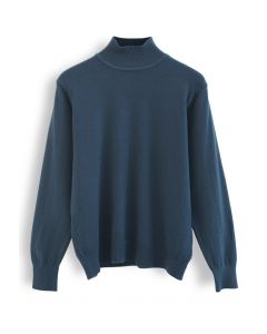 Basic High Neck Knit Top in Teal