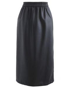 Sleek Soft Faux Leather Pencil Midi Skirt in Black