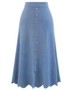 Scrolled Hem Button Knit Midi Skirt in Blue