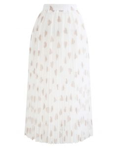 Heart Print Double-Layered Mesh Tulle Skirt in White