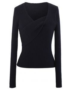 V-Neck Fitted Knit Top in Black