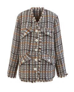 Faux Fur Lining Tassel Tweed Blazer in Taupe