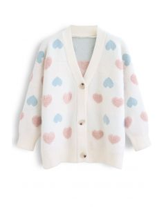 Button Down Heart Fuzzy Knit Cardigan in Ivory