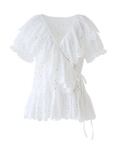 V-Neck Embroidery Eyelet Ruffle Wrap Top