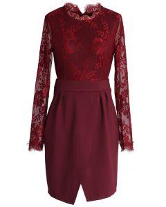 Wine Floral Lace Split Shift Dress