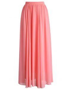 Candy Pink Chiffon Maxi Skirt