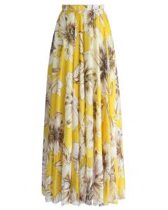 Marvelous Floral Maxi Skirt in Yellow