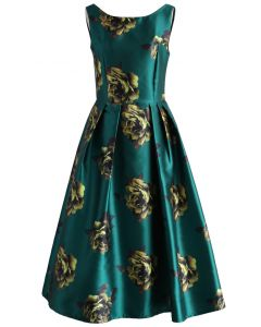 Peonies Print Prom Dress in Emerald