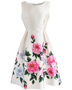 Retro Felicitous Peony Printed Dress