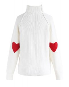 Heart and Soul Patched Knit Sweater in White