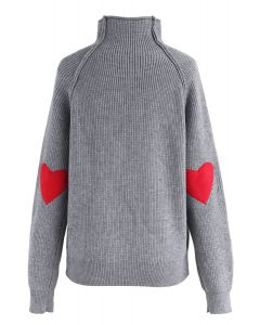 Heart and Soul Patched Knit Sweater in Grey