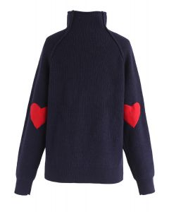 Heart and Soul Patched Knit Sweater in Navy
