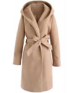 Cozy Trip Hooded Open Front Longline Coat in Tan