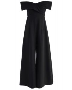 Eternal Sweet Cross Breast Off-Shoulder Jumpsuit in Black