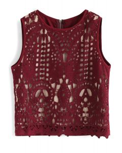 Profound Baroque Crochet Sleeveless Top in Wine