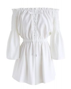 Daily Chic Off-Shoulder Playsuit in White