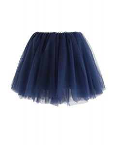 Amore Mesh Tulle Skirt in Navy For Kids
