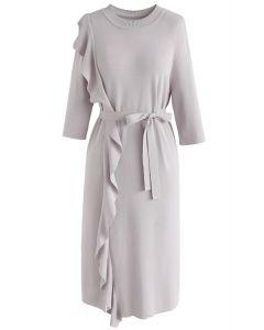 Raise Your Elegance Knit Shift Dress in Grey