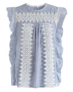 Crochet Reverie Sleeveless Top in Stripe