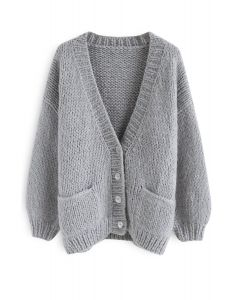 Pause for the Cozy Chunky Hand Knit Cardigan in Grey