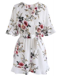 Dwell in Floral Dream Wrapped Playsuit in White