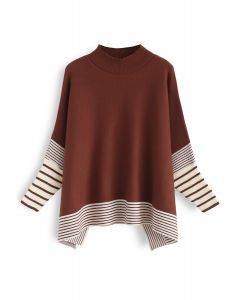 Lie in Caramel Fields Striped Oversize Knit Cape Sweater