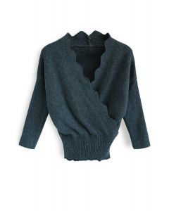 Cafe Time Wavy Wrap Knit Top in Teal