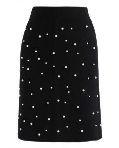 Eternal Pearls Knit Skirt in Black