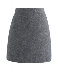 Stylish Approach Wool-Blended Bud Skirt in Grey
