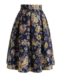 Floral Vintage Embossed Pleated Midi Skirt in Navy