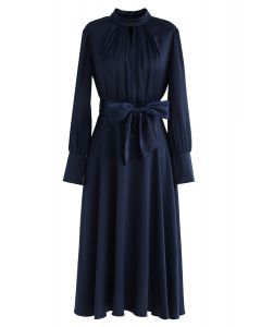Grab the Spotlight Bowknot Satin Dress in Navy