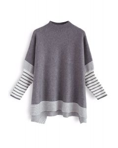 Lie in Grey Fields Striped Oversize Knit Cape Sweater