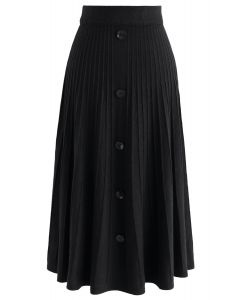 Daily Essential Knit Midi Skirt in Black