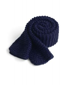 Keeping You Warm Hand Knit Scarf in Navy