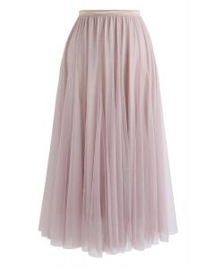 My Secret Weapon Tulle Maxi Skirt in Glitter Pink