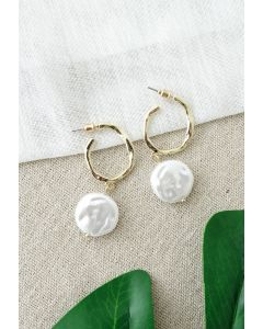 Coin Pearl Gold Hoop Earrings