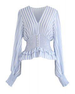 Vintage Spirits Shirred Stripes Top in Blue