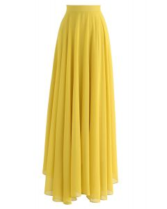 Timeless Favorite Chiffon Maxi Skirt in Mustard