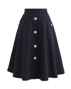 I'll be Me Buttons A-Line Skirt in Navy