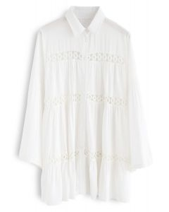 Hear the Breeze Crochet Cutout Tunic Shirt
