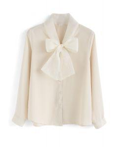 Bow Me Tenderly Chiffon Shirt in Cream