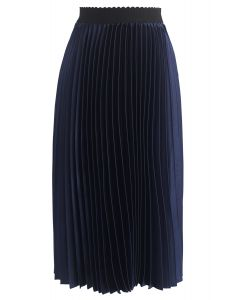 Glam Slam Pleated Midi Skirt in Navy