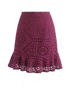 Let Love Grow Eyelet Mini Skirt in Wine