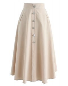 Live For Now A-Line Midi Skirt in Sand