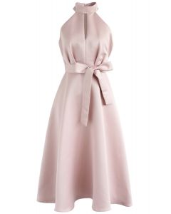 Lady in Pink Halter Neck Midi Dress
