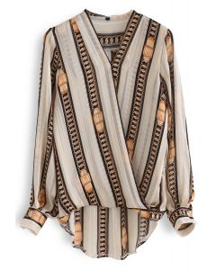 Chain Reaction Stripes Wrap Top in Light Tan
