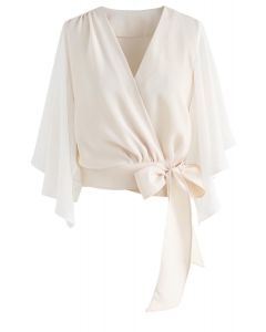 Chic Natural Cropped Cape Top in Cream