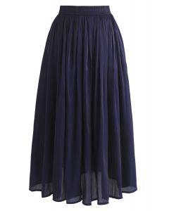 Sleek Beauties Pleated Midi Skirt in Navy